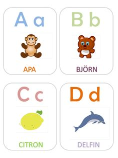 Alfabetskort Educational Activities For Kids, Toddler Activities, Learning Activities, Kids Learning, Learn Swedish, Swedish Language, Teacher Education, Letter A Crafts, Alphabet