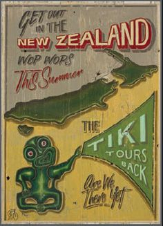 "I like the top half of this - ""NZ Tiki Tour"" Kiwiana art print by Jason Kelly for Sale - New Zealand Art Prints Vintage Advertising Signs, Vintage Travel Posters, Vintage Advertisements, Retro Posters, New Zealand Art, Nz Art, Maori Art, Kiwiana, Scrapbook"