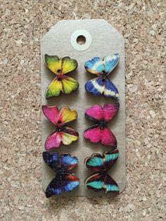 Beautiful Wooden Butterfly Thumb Tacks/Push Pins for Cork Board x 6