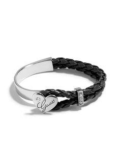 Silver-Tone Faux-Leather Woven Heart Hinge Bracelet
