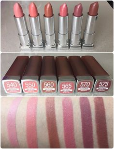 Swatches of the new Maybelline creamy matte brown nudes collection. These lipsti… Swatches of the new Maybelline creamy matte brown nudes collection. These lipsticks are creamy matte and glides smoothly on the lips. Lipstick Swatches, Makeup Swatches, Makeup Dupes, Skin Makeup, Makeup Cosmetics, Maybelline Matte Lipstick, Lipgloss, Drugstore Lipstick, Flawless Makeup