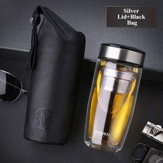 0b8e5b7c47 Double Wall Travel Mug Glass Water Bottle With Stainless Steel Tea Infuser  380Ml Cute Coffee Mugs