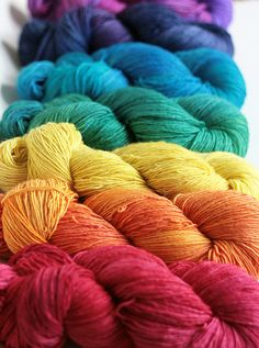 I want nice yarns like these--no more acrylic! Taste The Rainbow, Over The Rainbow, World Of Color, Color Of Life, Rainbow Art, Rainbow Colors, Happy Colors, True Colors, Tanis Fiber Arts