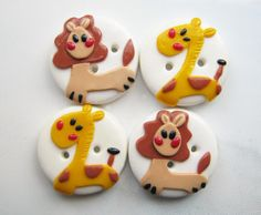 Giraffe and Lion - set of 4 polymer clay buttons on lulla.com