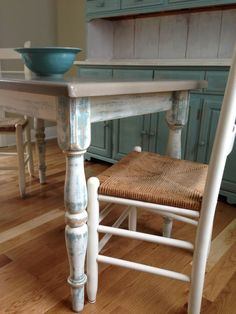 Upcycled shabby chic dining room table, chairs and hutch. Annie Sloan chalk paint duck egg blue, old white and coco. Work by Susan Reed Artist at Large