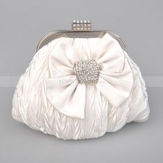 White Fully Crinkled Satin Evening Clutch with Bow and Rhinestone