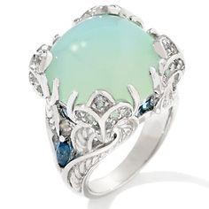 Victoria Wieck 1.07 carat Seafoam Chalcedony and Topaz sterling silver ring