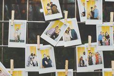 displaying polaroids at wedding