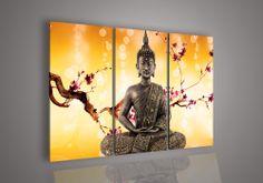 Large Buddha Face Wall Art | Piece Wall Art Religion Buddha Orange Oil Painting On Canvas Large ...