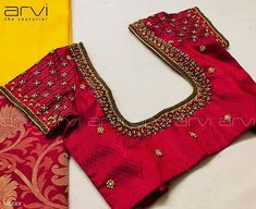 Photo by Arvi the couturier in Arvi the couturier. Cutwork Blouse Designs, Cotton Saree Designs, Wedding Saree Blouse Designs, Simple Blouse Designs, Embroidery Neck Designs, Stylish Blouse Design, Aari Embroidery, Simple Embroidery, Bridal Lehenga