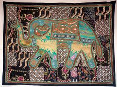 HANDMADE ELEPHANT BOHEMIAN PATCHWORK WALL HANGING EMBROIDERED TAPESTRY INDIA E75…