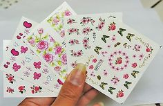 5-sheets-Pink-Flower-Nail-wrap-4-pc-White-Pearl-Nail-Charm-Flower-Cluster-3d