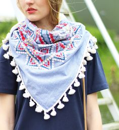 #bloved #scarf #shawl #jeans #pom #aztec #cotton #inspiration #blue #summer #collection #outfit #festival