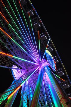 A dazzling display of color illuminates Pigeon Forge's Great Smoky Mountain Wheel at The Island in Pigeon Forge in East Tennessee.