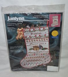 "Janlynn ""Fishing You A Merry 'Catch'mas"" Cross Stitch Christmas Stocking Kit"