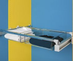 A truly innovative option for drawer-like storage, ideally suited for, but not limited to, wardrobes. A pull out frame that adjusts for spaces from 750mm to 1150mm wide, plus tough polycarbonate boxes that slot onto the frame. Contents are easily visible in these clear boxes that come in three sizes. Shown here - two of the large sized box, ideal for storing folded clothing. Order the frame and the boxes you desire, or order one of our complete kits.