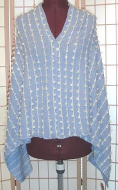 New WT Occasionally Made Sz S Powder Blue W/ Tufted Striping Knit Poncho #OccasionallyMade #Poncho #Everyday