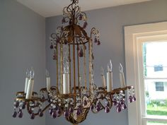 Benjamin Moore Sweet Innocence, 1930′s gilt tole chandelier with Amethyst drops from Italy - Privet House, Greenwhich, CT.