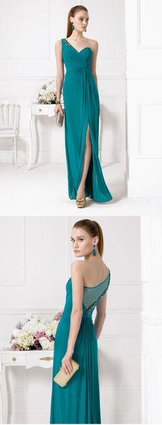 Chic One Shoudler Sleeveless Crystal Detailling Split Long Emerald Green Bridesmaid Dress