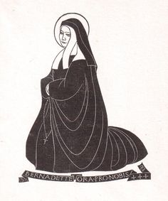 """Eric Gill (1882-1940) """"St. Bernadette"""" wood engraving, 1926. P 381 in """"Eric Gill the Engravings"""" by Christopher Skelton. Cleverdon edition' 1929. 125 X 105 mm."""