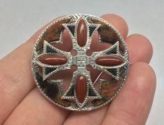 SUPERB LARGE ANTIQUE VICTORIAN SCOTTISH AGATE SILVER CELTIC BROOCH PIN -c.1875