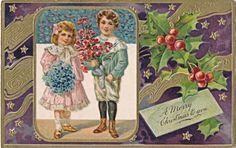 C1906 Embossed Christmas Children with Bouquets Purple Gold Elegant Postcard   eBay