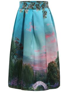 With Zipper Tree Print Skirt Mobile Site