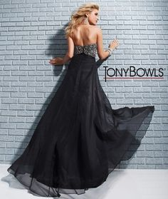 Empire waist, strapless chiffon prom dress with jewelled bodice and soft a-line skirt, from Tony Bowls Le Gala