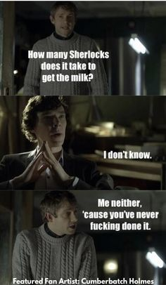 19 Hilarious Sherlock Memes That'll Tickle Your Funny Bone fanfiction memes are pure pleasure. With Sherlock, even the general sherlock fandom gives us some great memes. If you love fanfiction and fanfiction memes check out our favourite sherlock memes in Sherlock Fandom, Sherlock John, Sherlock Quotes, Watson Sherlock, Jim Moriarty, Sherlock Holmes Funny, Sherlock Humor, Sherlock Cast, Benedict Sherlock