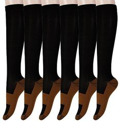 aef47eca2a Graduated Copper Compression Socks 6 Pairs Anti Fatigue Knee High Socks For Men  Women Pain Ache Relief Stockings-15-20 mmHg (L/XL, Black) ** Read more at  ...