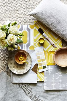 Create a modern country scheme using soft grey and yellow. Select fabrics in… Grey Yellow, Golden Yellow, Summer Kitchen, Gray Interior, New Living Room, Modern Country, Modern Rugs, Scandinavian Style, Modern Bedroom