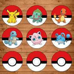 Pokemon Cupcake Toppers rood / wit  Pokemon door NineLivesNotEnough