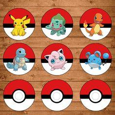 Pokemon Cupcake Toppers Red & White - Pokemon Stickers - Pokemon Party…