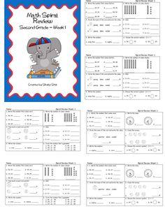 Second Grade Math ---great for morning work practice for grade--FREE math printables for second grade Math Worksheets, Math Resources, Math Activities, Math Tutor, Teaching Math, Maths, Teaching Ideas, Spiral Math, Daily Math