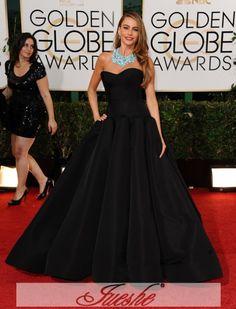 46442b2aba4 Gorgeous Black Satin Strapless Ball Gown Evening Dress Sofia Vergara Wore  On Golden Globe Awards 2014