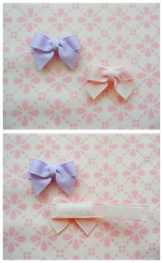 Bows with Velcro closure. Good idea for teeny babies... or ones with only a little bit of hair
