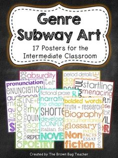 Bright and fun Genre Subway Art Posters! These posters are perfect for hanging in classroom libraries or on a focus wall as each genre is studied.