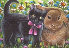 Black Kitten & Bunny Spring Easter Painting