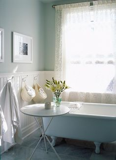 Cool blue bathroom with clawfoot tub. it's a Sarah Richardson design Sarah Richardson Bathroom, Room Deco, Favorite Paint Colors, Beach Cottage Style, White Bathroom, Parisian Bathroom, Bathroom Interior, Neutral Bathroom, Design Bathroom