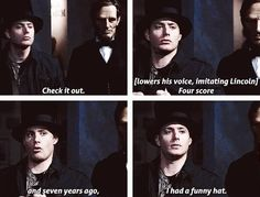 """Check it out. Four score and seven years ago, I had a funny hat."" 