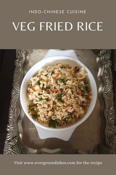 Veg Fried Rice is a flavoursome rice dish from Indo- Chinese cuisine. It is ideal as a meal by itself. Pair it with some saucy dish as manchurian for a hearty meal. Quick Vegetarian Meals, Best Vegetarian Recipes, Garlic Recipes, Rice Recipes, Healthy Dishes, Tasty Dishes, Veg Fried Rice Recipe, Rice Dishes, One Pot Meals