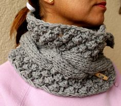 Gray Grey Scarf  Knit Cowl Cable Chunky Neck Warmer With