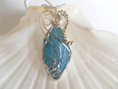 Wire Wrapped Jewelry Wire Wrap Pendant Handmade Sky by elainesgems, $24.00