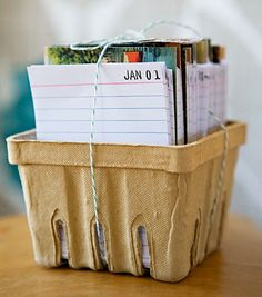 "This would be great for a babies first year, maybe this can be a good baby shower gift... ""An index card for everyday of the year is divided by postcards for each month. Everyday you are to write something that happened that day. This is repeated each year. So fun and interesting after the first year so see what you had done on the same day in previous years. "" www.2gypsygirls.com/"
