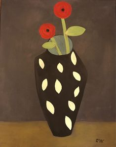 Still life Poppies contemporary modern primitive by Rose Walton Contemporary Decorative Art, Modern Contemporary, Painted Boards, Naive Art, Flower Art, Still Life, 19th Century, Folk Art, Poppies