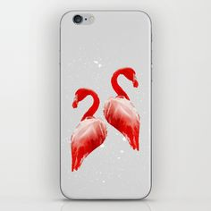 Flamingo Couple iPhone & iPod Skin #flamingo, #birds, #illustration, #couple