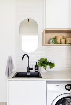 Likes - black matte tap and sink Laundry Room Layouts, Laundry Room Remodel, Small Laundry Rooms, Laundry In Bathroom, Garage Bathroom, Bathrooms, Decor Interior Design, Interior Decorating, Chaise Ikea