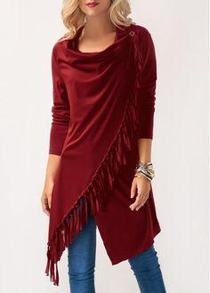 Wine Red Asymmetric Hem Long Sleeve Tassel T Shirt | Rosewe.com - USD $27.70