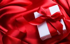 Download wallpapers red silk fabric, romantic gift, white box, red bow, February 14, Valentines Day