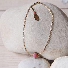 Myo jewel - bracelet de cheville en laiton brut et perle de Jade / anklet rawbrass & gemstone